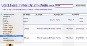 How to register.  Enter Zip Code and choose the Course Subject.